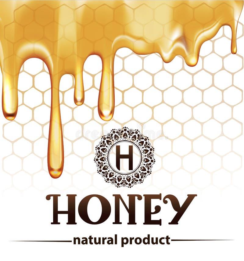 Honey splash dripping sweet drops from bee honeycomb poster vector illustration
