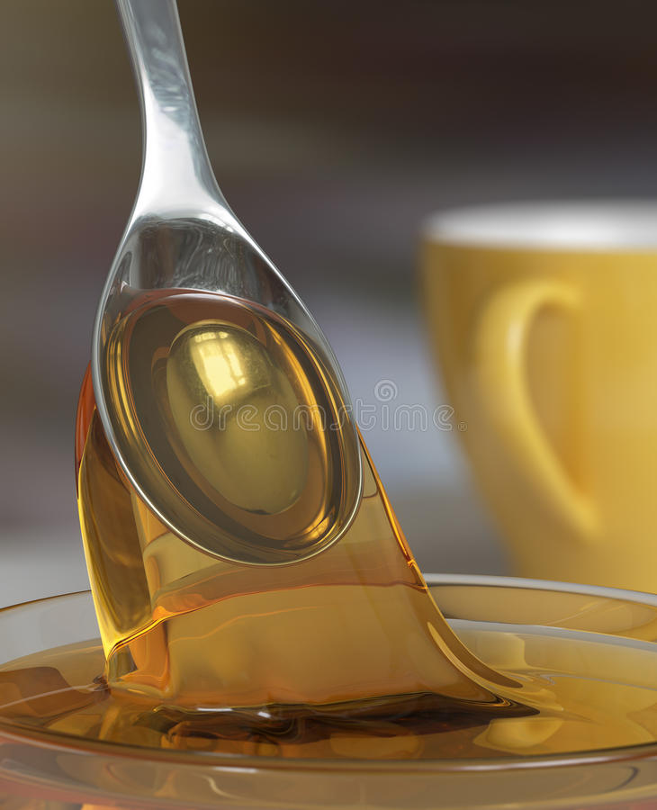 Honey and spoon royalty free stock image