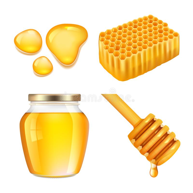 Honey. Sticky gold honey splashes and jar melting vector realistic collection royalty free illustration