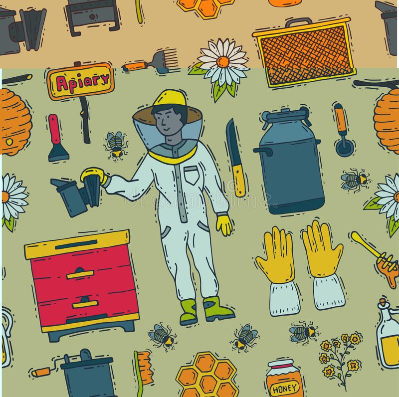 Honey sweet beeceeper vector apiary farm beekeeping icons set honeymaker bee insect beeswax illustration seamless royalty free illustration