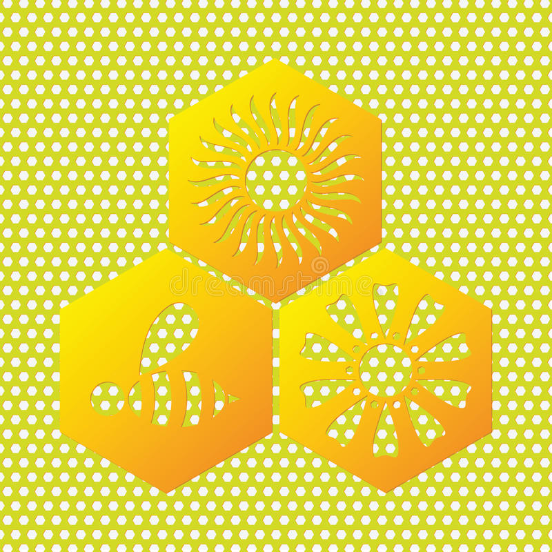 Honey symbol of bee, sun, flower