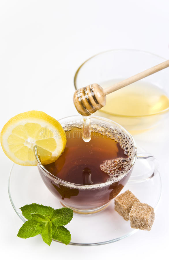 Download Honey Tea With Lemon And Leaf Freash Mint Stock Photo - Image: 24769626