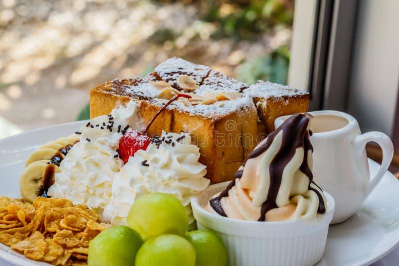 Honey toast dessert . stock images