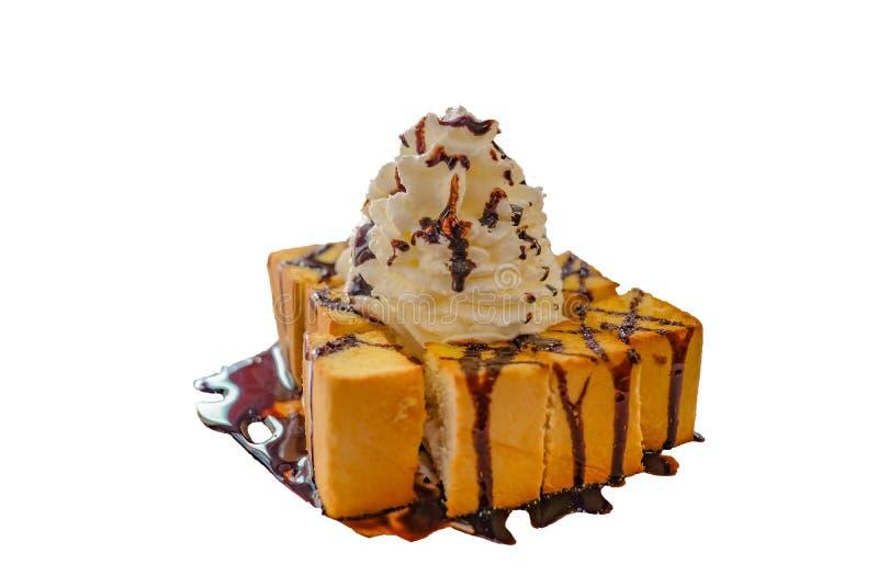 Honey Toast riempie con la crema ed il cioccolato della frusta fotografie stock