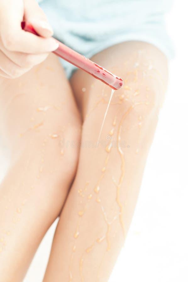 Download Honey Treatment Over Beautiful Legs Stock Photo - Image of caucasian, human: 18987072
