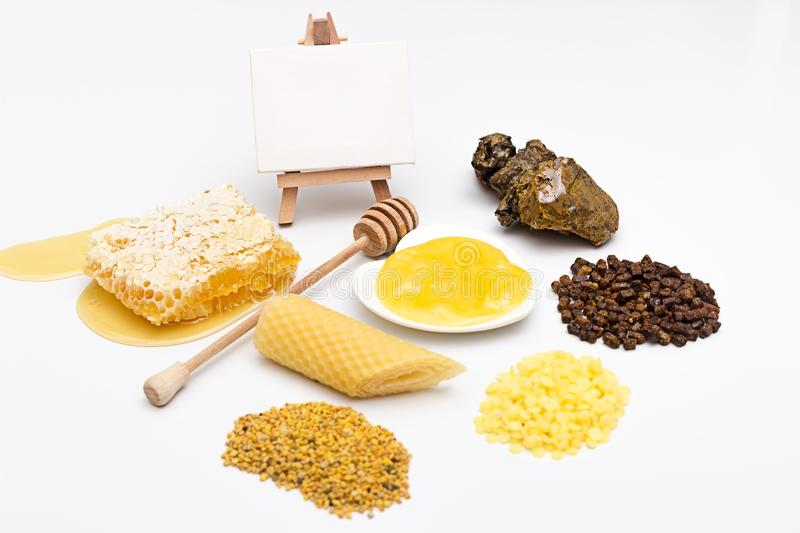 Honey varieties and bee products stock photography
