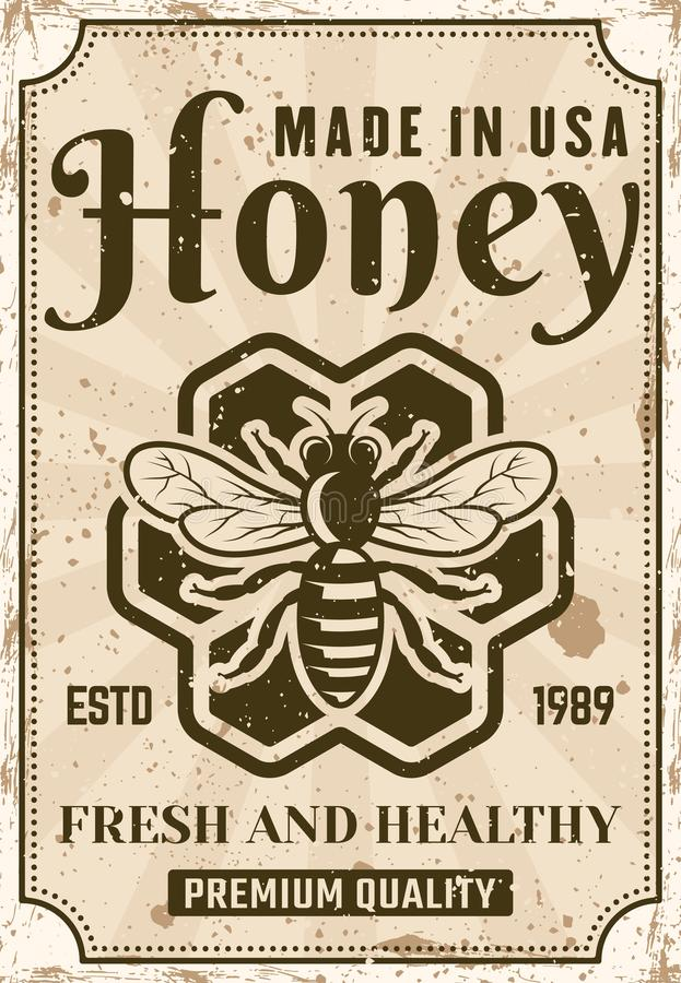 Honey vector advertising poster in vintage style stock illustration