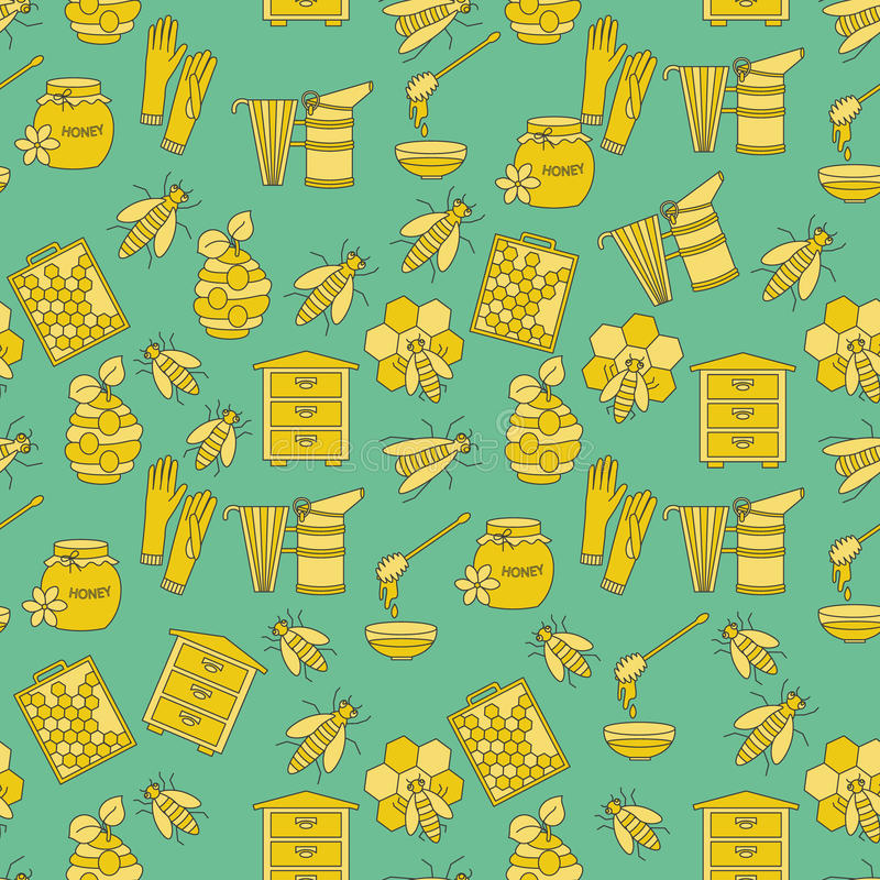 Honey vector seamless pattern. With thin line symbols - sweet honey, natural honeycomb, beehive, wax, honeycomb, and other apiary equipment stock illustration