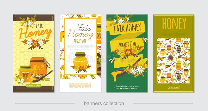 Honey Vertical Banners natural liso ilustração do vetor