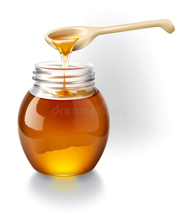 Honey With A Wooden Spoon. Stock Images