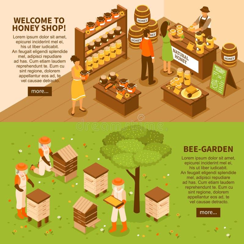 Honey Yard Isometric Banners Set vector illustration