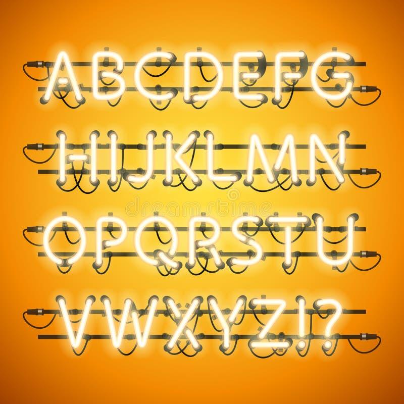 Honey Yellow Alphabet de neón que brilla intensamente libre illustration