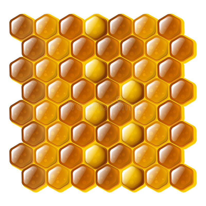 Honeycomb. Golden and shiny cells of a honeycomb stock illustration
