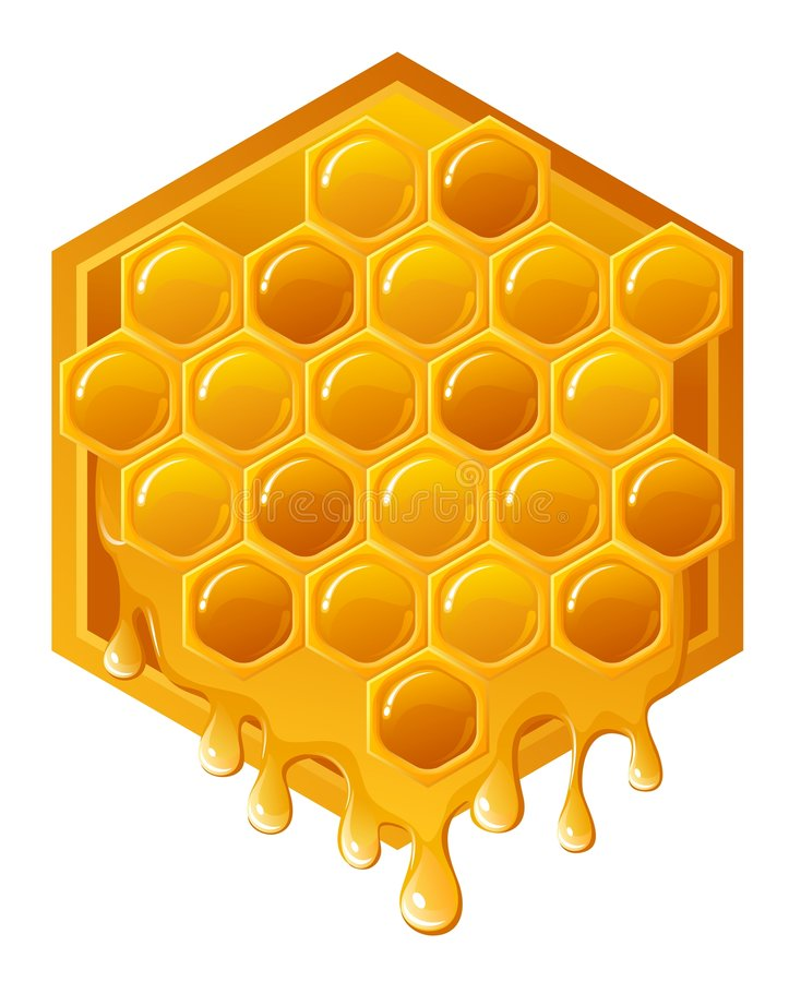 Honeycomb. Illustration of honeycomb with flowing honey stock illustration
