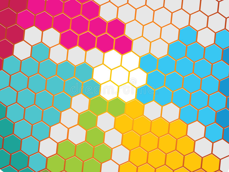 Honeycomb. Close-up of colorful honeycomb structure stock illustration