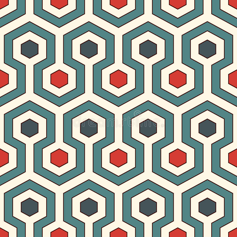 Honeycomb background. Retro colors repeated hexagon tiles wallpaper. Seamless pattern with classic geometric ornament. Honeycomb abstract background. Retro vector illustration