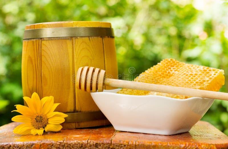 Honeycomb and barrel of honey stock image