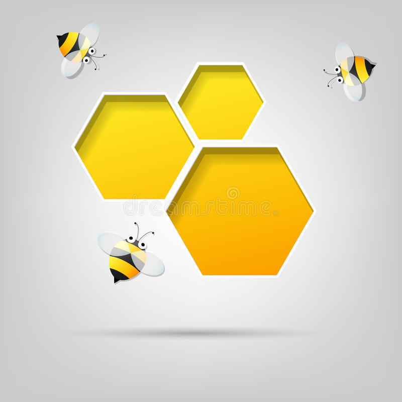 Honeycomb and the bees stock illustration