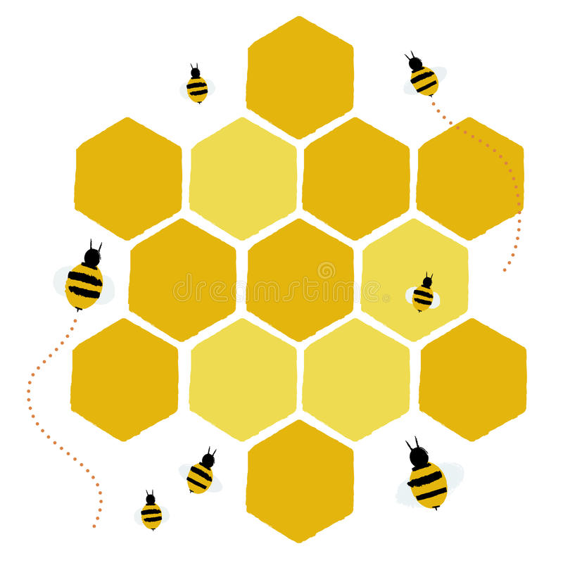 Honeycomb and bees. Illustration of bees in a honeycomb isolated on a white background royalty free illustration
