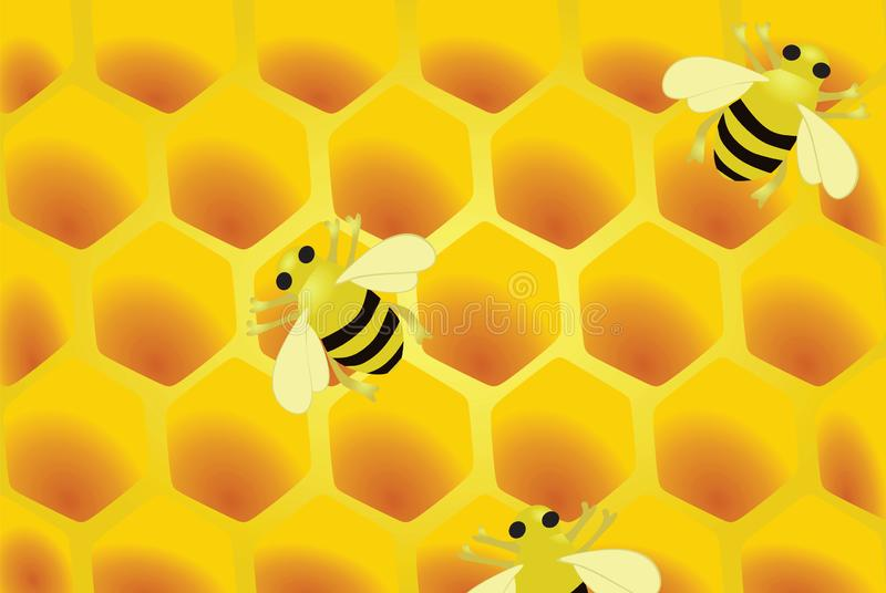 Honeycomb and bees stock illustration
