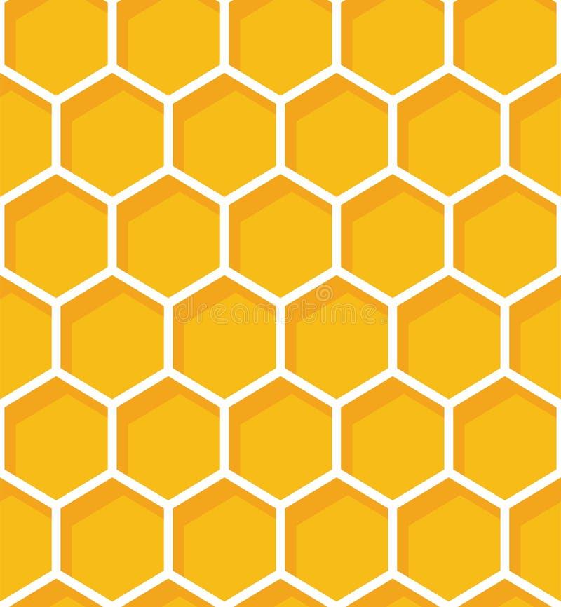 honeycomb bezszwowy deseniowy Wektorowy naturalny miodowy tło ilustracja wektor