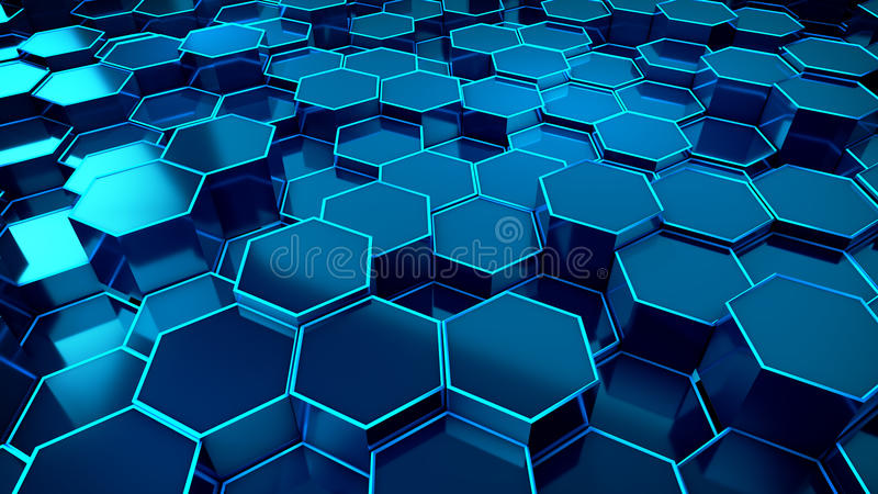 Honeycomb Blue Background Technology. Illustration stock illustration