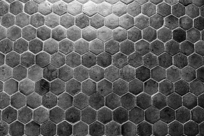 Honeycomb cobblestone pattern. Hexagonal for the floor royalty free stock photo
