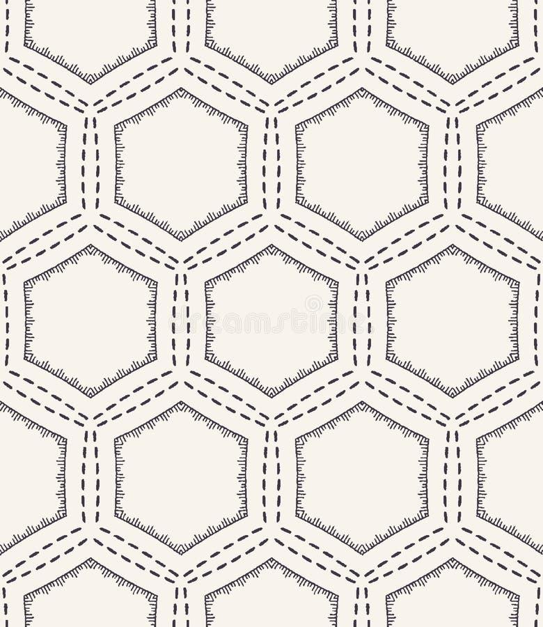Honeycomb działającego ściegu broderii wzór Wiktoriańskiego sześciokąta uszycia bezszwowy wektorowy tło Ręka rysująca geometryczn ilustracja wektor