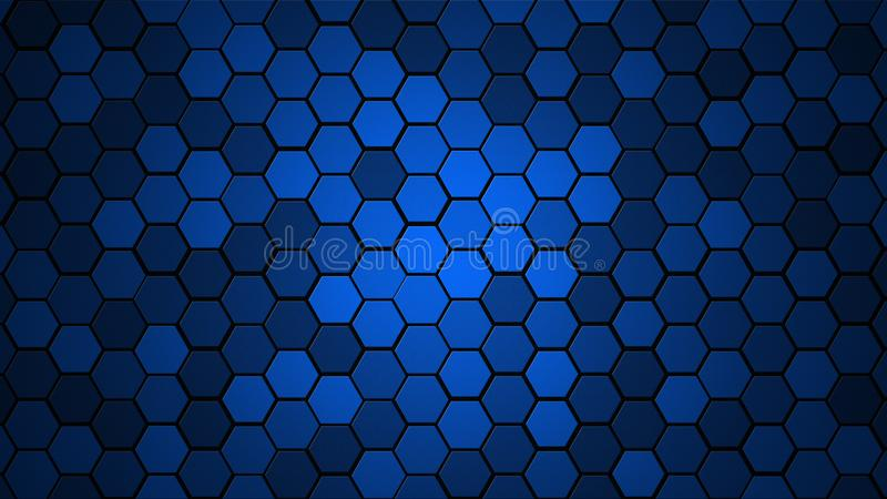 Honeycomb Grid tile random background or Hexagonal cell texture. in color Blue with dark or black gradient. Tecnology concept. wit stock photography