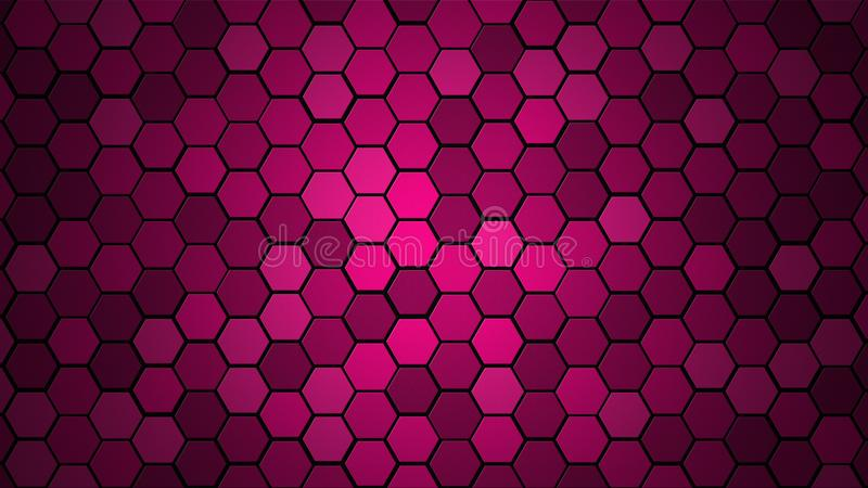 Honeycomb Grid tile random background or Hexagonal cell texture. in color Plastic Pink with dark or black gradient. Tecnology conc. Ept. with 4k resolution royalty free stock photography