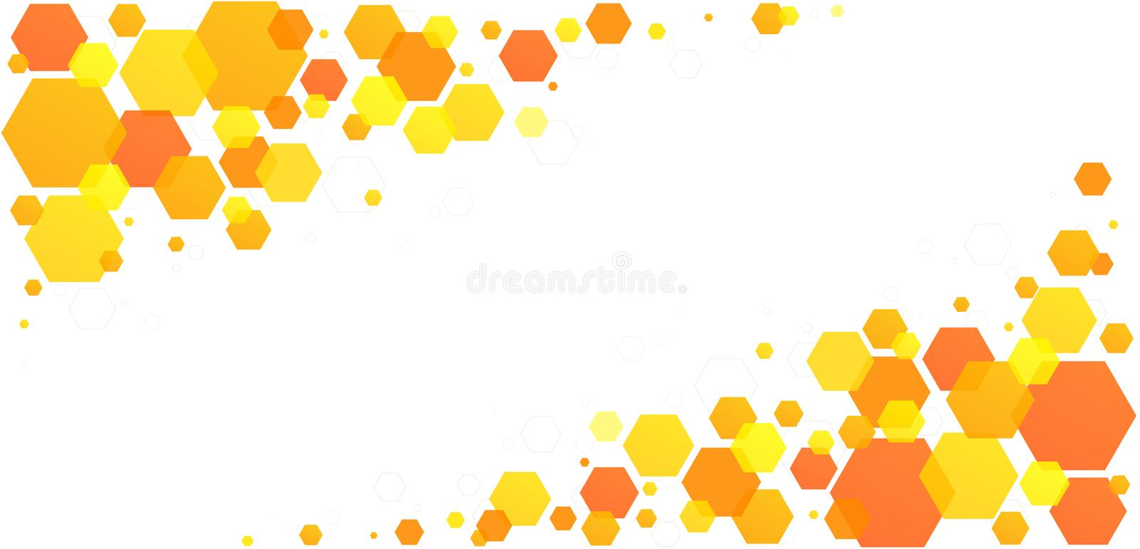 Honeycomb hexagon bee cells. Yellow-orange abstract geometric pattern from beehive cells royalty free illustration