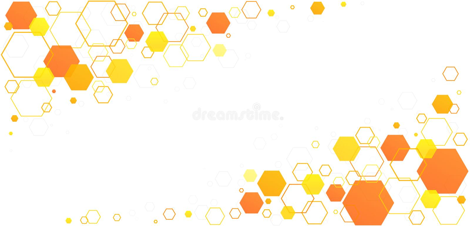 Honeycomb hexagon bee cells. Yellow-orange linear geometric pattern from beehive cells. Vector illustration stock illustration