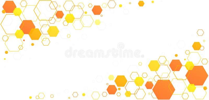 Honeycomb hexagon-bijencellen Geel-oranje lineair geometrisch patroon van bijenkorven stock illustratie
