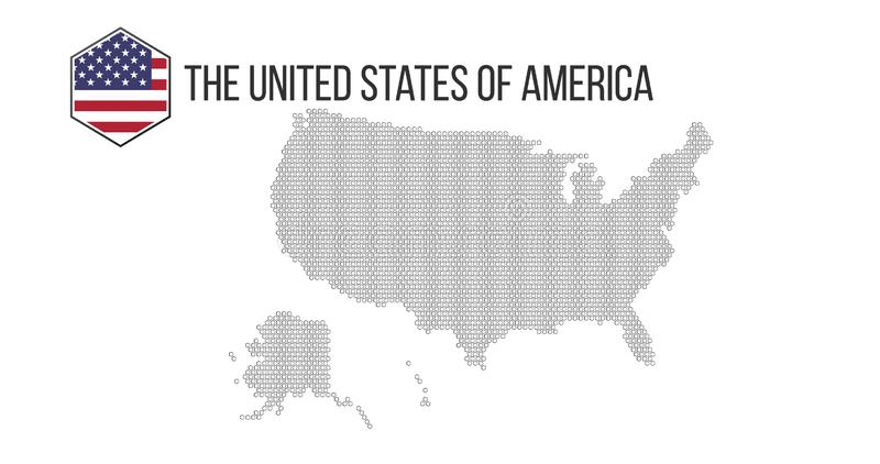 Honeycomb hexagonal USA map. Vector halftone geographic plan on a white background. Abstract USA map composition is combined of stock illustration