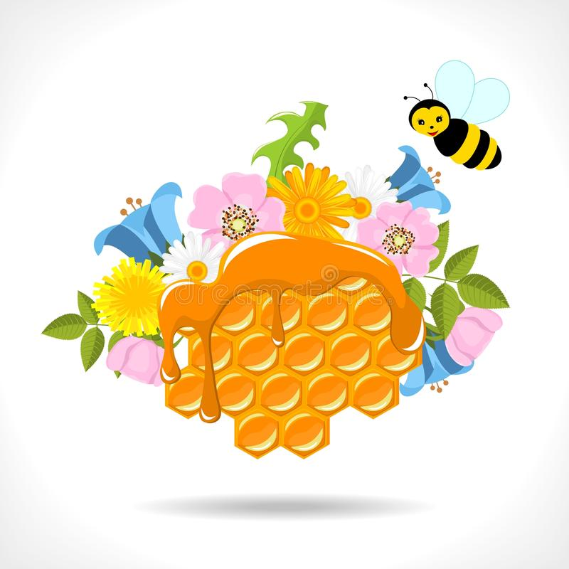 Honeycomb with honey, flowers and bees royalty free illustration