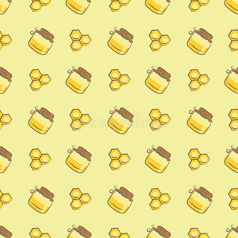 Honeycomb and honey jar pattern royalty free illustration