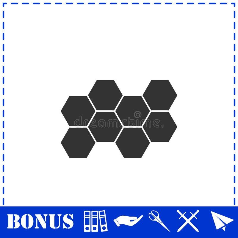Honeycomb icon flat. Simple vector symbol and bonus icon royalty free illustration