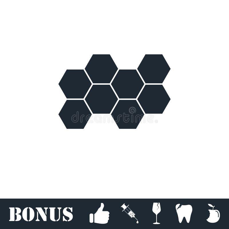 Honeycomb icon flat. Vector illustration symbol and bonus pictogram stock illustration