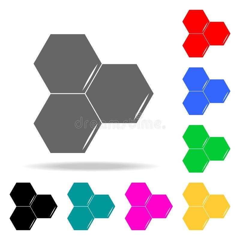 Honeycomb ikona Elementy szkoły i nauki wielo- barwione ikony Premii ilości graficznego projekta ikona Prosta ikona dla stron int ilustracja wektor