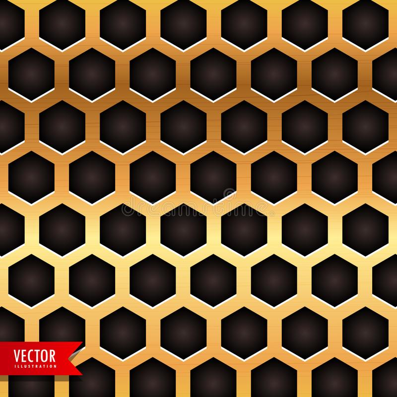 Honeycomb pattern in golden color. Vector vector illustration