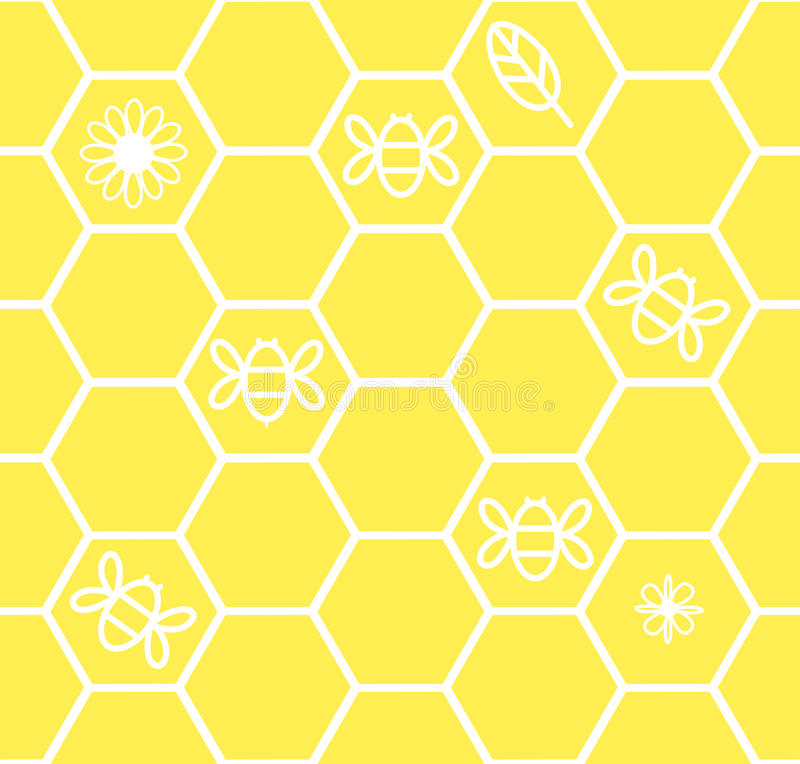 Download Honeycomb Seamless Background With Flower Leaf Bee Stock Vector - Image: 32261510