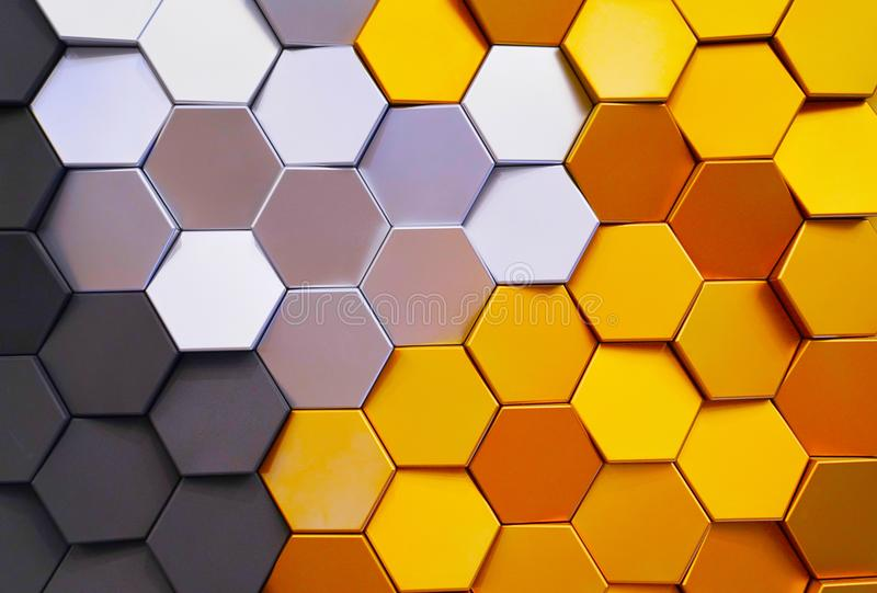 Honeycomb shape colorful decorative ceramic tiles on wall royalty free stock photo