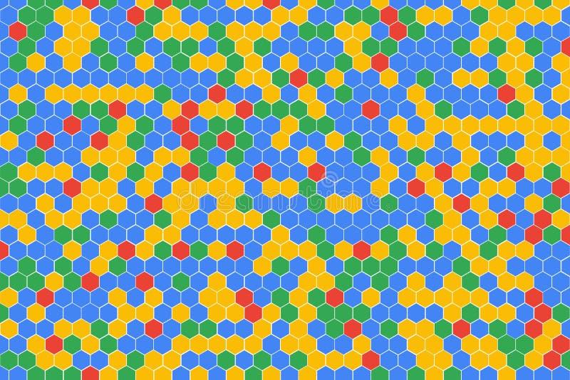 Honeycomb siatki płytki przypadkowy tło czerwona błękitna zieleń i komórki tekstura multicolor lub kolorowa żółta lub Heksagonaln ilustracja wektor