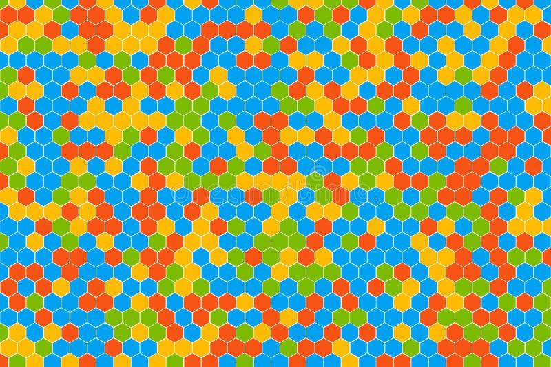 Honeycomb siatki płytki przypadkowy tło czerwona błękitna zieleń i komórki tekstura multicolor lub kolorowa żółta lub Heksagonaln royalty ilustracja