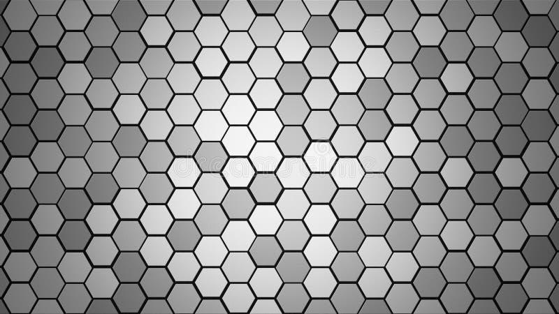 Honeycomb siatki płytki przypadkowy tło lub Heksagonalna komórki tekstura w kolor szarość lub siwieje z różnicy granicy przestrze zdjęcia royalty free