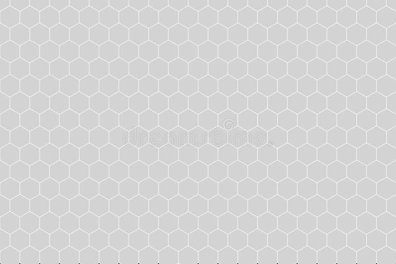 Honeycomb siatki płytki przypadkowy tło lub Heksagonalna komórki tekstura w kolorze białym lub szarość lub siwieje z różnicy gran royalty ilustracja