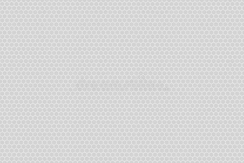 Honeycomb siatki płytki przypadkowy tło lub Heksagonalna komórki tekstura w kolorze białym lub szarość lub siwieje z różnicy gran ilustracja wektor