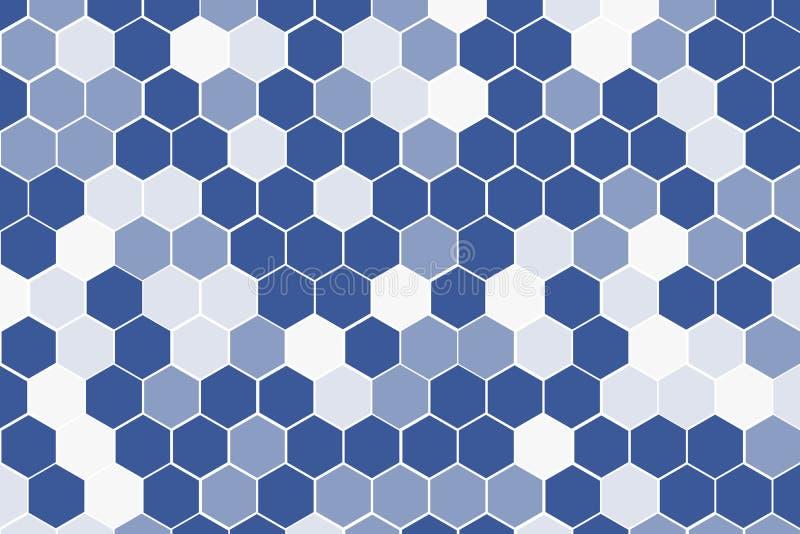 Honeycomb siatki płytki przypadkowy tło Multicolor błękitne szarość i siwieje Kom?rki heksagonalna tekstura z różnicy granicy prz royalty ilustracja