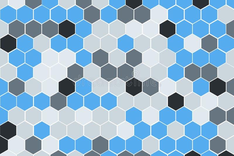 Honeycomb siatki płytki przypadkowy tło Multicolor błękitne szarość i siwieje Kom?rki heksagonalna tekstura z różnicy granicy prz ilustracji