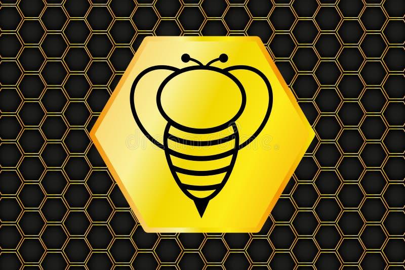 Honeycomb tło i pszczoła logo, wektor, ilustracja ilustracja wektor